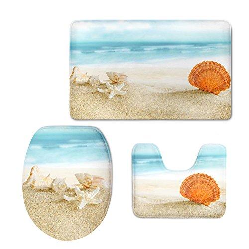 CHAQLIN Funny Beach Designer Nonslip Back Bathroom Mats Set Novelty Starfish Washroom Inside Carpet Contour WC Lid Cover 3 Pce/Set