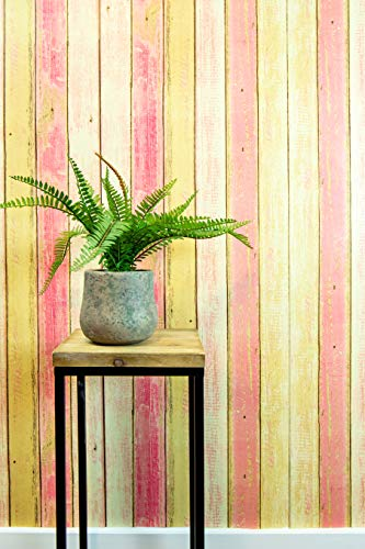 - Textured Peel and Stick Wallpaper by Happy House – Faux Distressed Wood (Pink) for Accent Wall – Easy Hang Self Adhesive Contact Vinyl - Temporary Removable Wallpaper Stick and Peel Backsplash