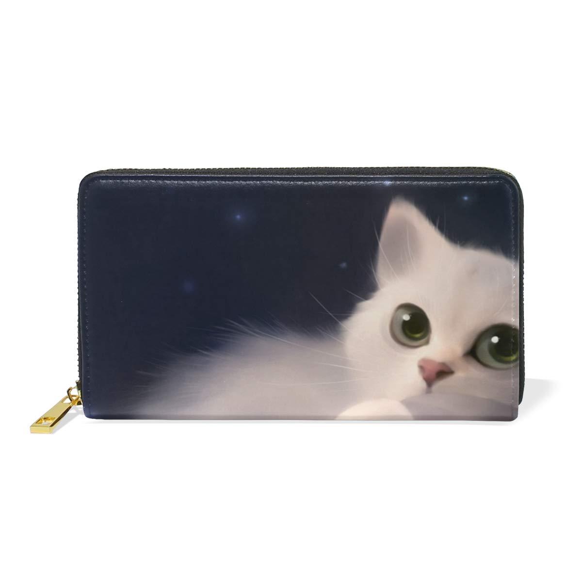 Show color 2 Women Genuine Leather Wallet Night Black Cat Zipper Purse Girl Phone Clutch