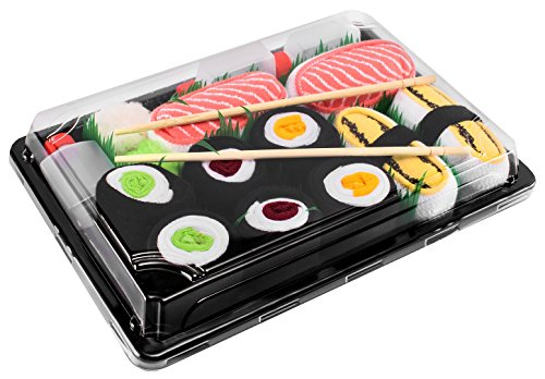 SUSHI SOCKS BOX 5 pairs Tamago Salmon Maki FUNNY GIFT! Made in Europe -