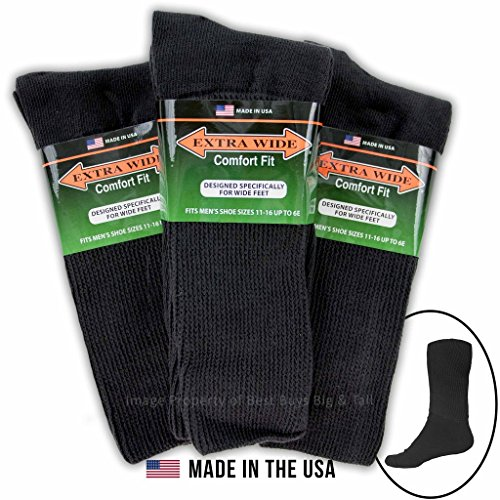 - Big & Tall Men's Extra Wide Socks Athletic Crew Size 11-16 BLACK 3-Pack #1214B