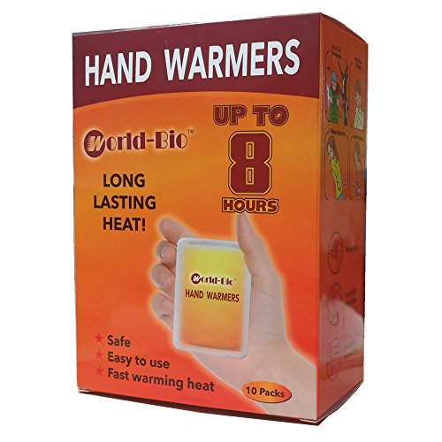 WORLD-BIO Disposable Hand Warmers, Air Activated Heating Patch Long Last for 8 Hours, 10 Packs, individual 20 pads.