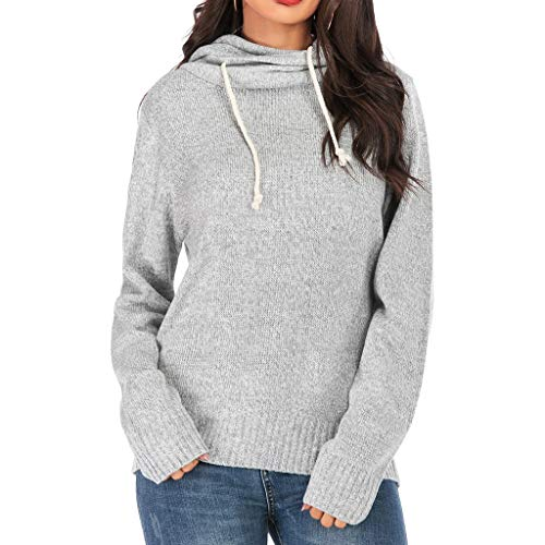 Yxiudeyyr Women Casual Double Hoodies Sweater Long Sleeve Cowl Neck Drawstring Pullover Sweatshirts Tops Gray (Built Hoodie Case)