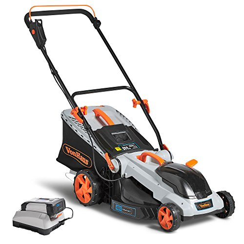 Cheap VonHaus 40V Max.16-Inch Cordless Lawn Mower Kit with 6 Level Adjustable Cutting Heights, 4.0Ah Lithium-Ion Battery and Charger Kit Included
