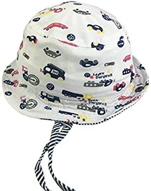 Baby Girls Boys Cars Summer Bucket Fishing Hats with Drawstring