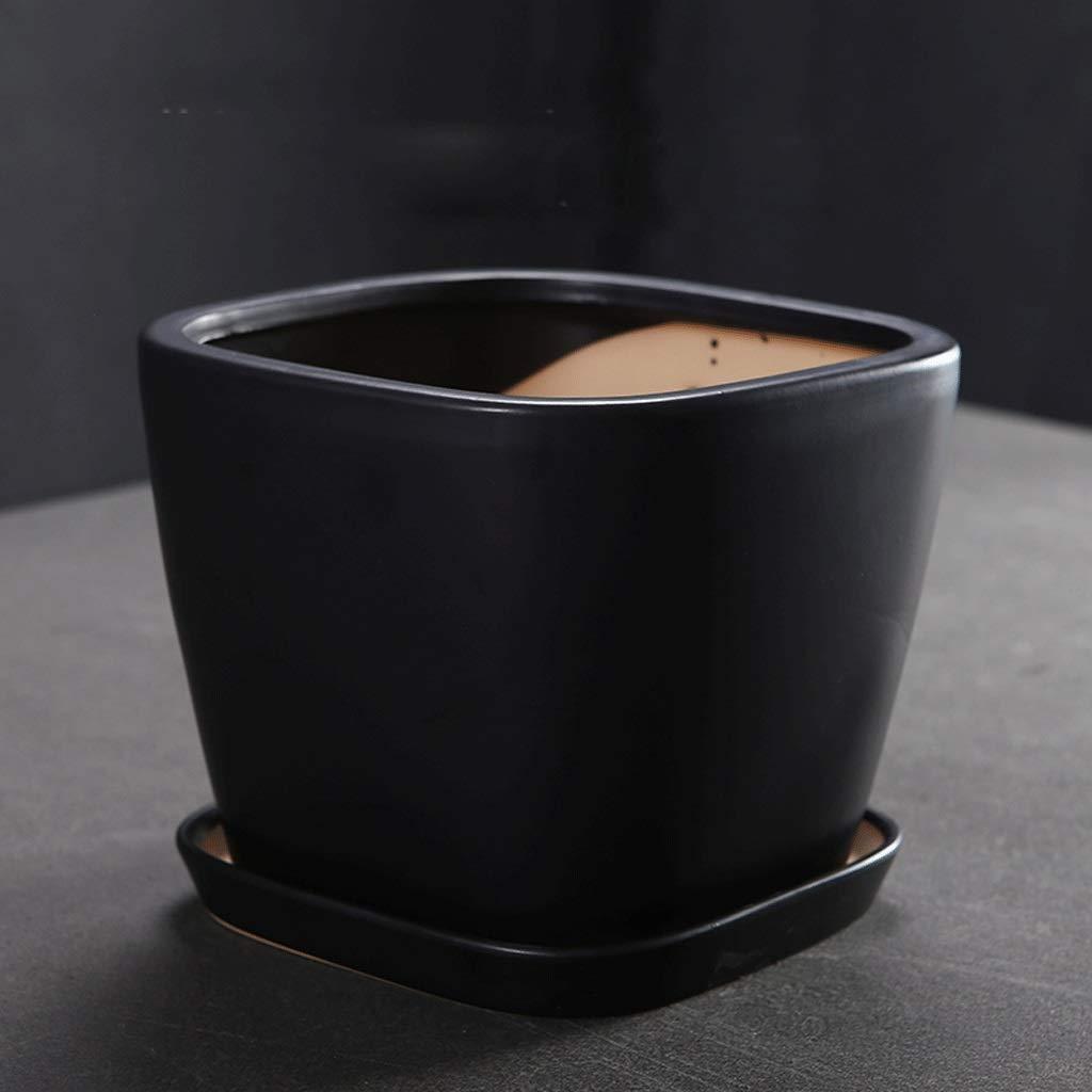 CKH Creativo Semplice Ceramica Nero Opaco Vaso di Fiori Opaco Nero Diviso con Vassoio Ispessimento Desktop Vaso di Fiori verde