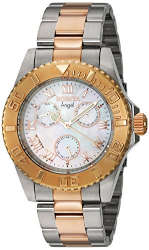 Invicta Women's 'Angel' Quartz Stainless Steel Casual Watch, Color:Two Tone (Model: 17527)