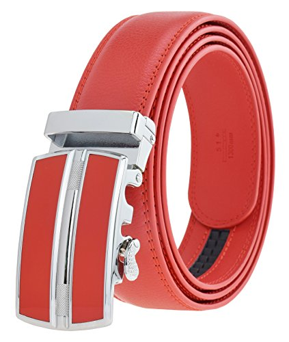 (QISHI YUHUA Belt Mens Leather Ratchet Belt, Waist: 20inch to 43inch (in inches), 126 Width: 1.38 Inches / 1 Red Belt)