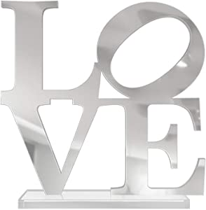 4ArtWorks - 3D Love Word Tabletop Art Décor (Silver Mirror Finish) for Dorm Rooms, Living Spaces, Bedrooms, Modern Offices & Desks with Transparent Acrylic Base | Great Gift Idea (6x6x1 in.)