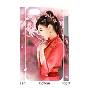 LASHAP Phone Case Of red Clothes Chinese girl,Hard Case !Slim and Light weight and won't fade, Scratch proof and Water proof.Compatible with All Carriers Allows access to all buttons and ports. For LASHAP 4/4s
