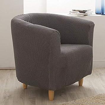 Delamaison Housse De Fauteuil Cabriolet Club Unie Extensible Coton Polyester Gris Lisa