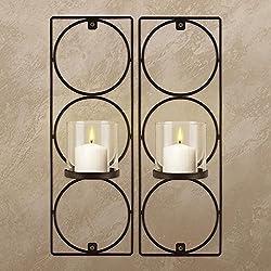Set Of 2 Metal Wall Sconces Sarah Peyton Hanging Candle Holders Modern Lighting Décor