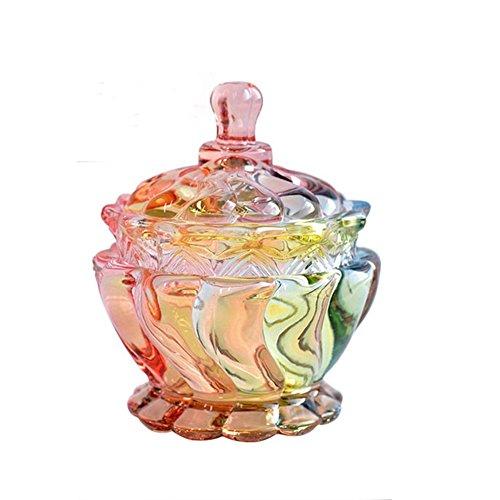 - East Majik Glass Design Sugar Bowls Decorative Candy Dishes Sweet Jars Storage Jar