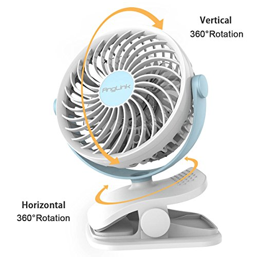 battery operated clip on fan mini desk fan with 4 speeds 360 degree rotation for baby stroller. Black Bedroom Furniture Sets. Home Design Ideas