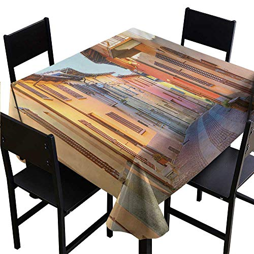 Medallion Tablecloth Italy,Narrow Paves Street Among Old Houses in Town Serralunga DAlba Piedmont,Pale Orange Brown Pink 50
