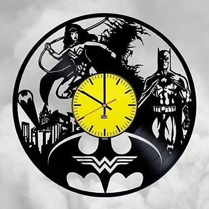 Batman Wonder Woman par disco de vinilo pared reloj de regalo para Fans gran idea decoración