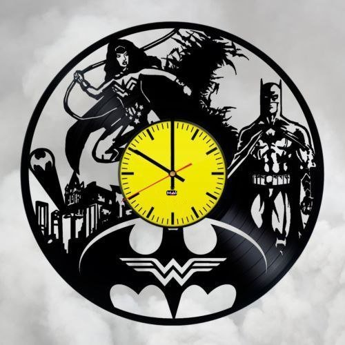 Make It Yourself Costumes For Couples (Batman Wonder Woman Couple Vinyl Record Wall Clock Gift For Fans Great Idea Home Decor DC Comics Vintage Decoration - Buy gift for everybody)