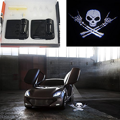 (Padaday Cool Skull Wireless car Door Step LED Welcome Logo Shadow Laser Projector Light Powered)