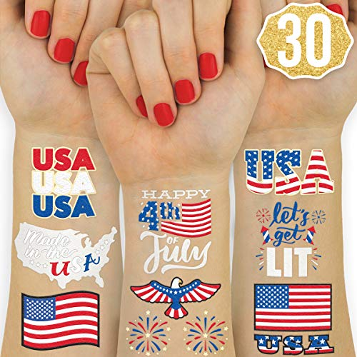 xo, Fetti Fourth of July Decorations Flash Tattoos - 30 styles | Memorial Day, Independence Day, Red White and Blue Party Supplies, 4th of July, USA Flag, Labor Day