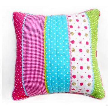 Best Pink Dot Striped Floral Cotton Quilted Pillow Cushion Cover Accent Case 2 Pieces (Couch Retro Sale For)