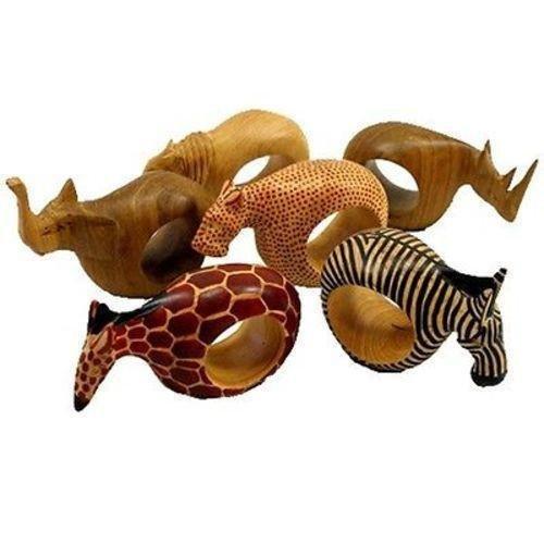 Jedando Handicrafts Set of Six Mahogany Wood Animal Napkin Rings