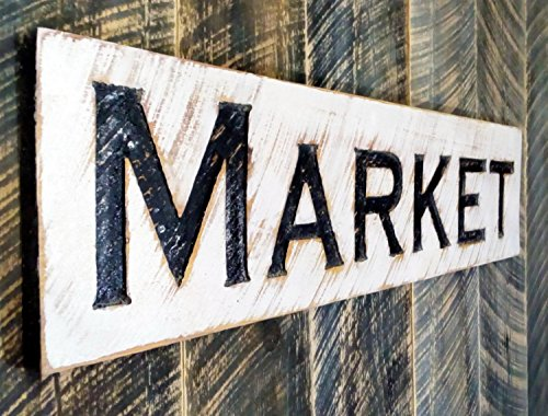Market Sign Horizontal - Carved in a Wood Board Rustic Distressed Kitchen Farmhouse Style Flea Antiques Wooden Wall Art…