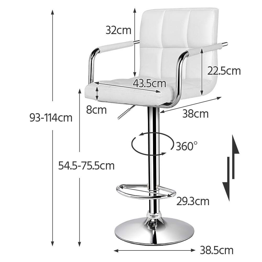 Popamazing Swivel Bar Kitchen Breakfast Bar Stools Chair for Kitchens Set of 2 with Backs and Arms (White Bar Stool)