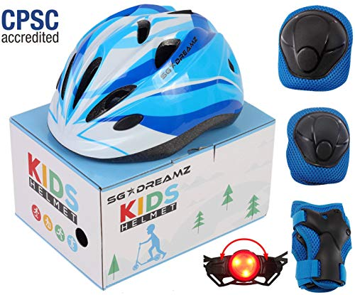 (SG Dreamz Kids Helmet with Protective Gear - Adjustable from Toddler to Youth Size Ages 3 to 7 - Nice Package Perfect for Gift - Multi-Sports w LED Safety Light - CSPC Certified (H12+LED+BoxPG+Blue))