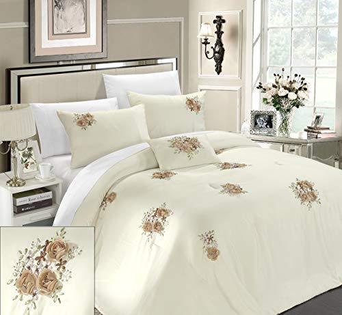 (Chic Home Rosetta 5-Piece Comforter Set, Queen, Beige)