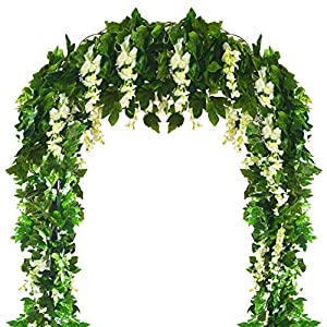 Musdoney 4 PCS(28.8 Ft) Artificial Flower Vine Silk Wisteria Garland Hanging Rattan with Ivy Leaf for Wedding Home Decor (White) 12