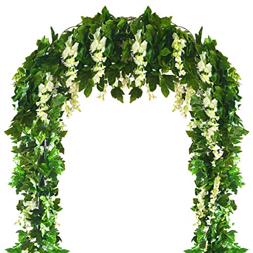 (Musdoney 4 PCS(28.8 Ft) Artificial Flower Vine Silk Wisteria Garland Hanging Rattan with Ivy Leaf for Wedding Home Decor (White))