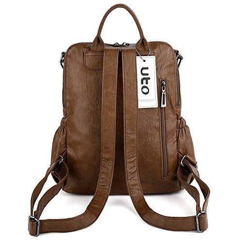 Zipper Tassel UTO Shoulder Backpack PU Purse Convertible Leather Women Brown Ladies Bag Crossbody Rucksack Pocket Washed fSqfvTw