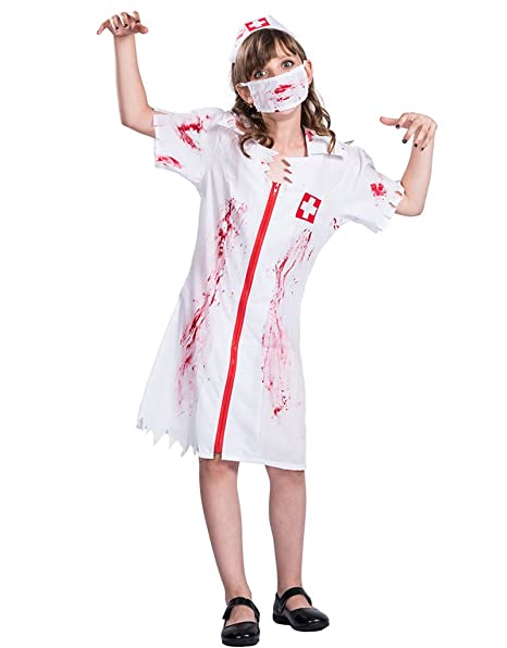 EraSpooky Disfraz Vestido de Halloween de Enfermera Zombie ...