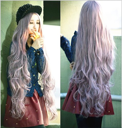 New Godiva Extra Long Lolita Full Natural Wavy Heat Resistant Hair Wig Grey purple Wigs (Wig Long Extra)