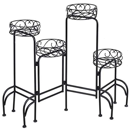 Giantex Flower Pot Rack Heavy Duty Metal Garden Patio Decorative Shelf Holder Plant Display Stand 4 in 1