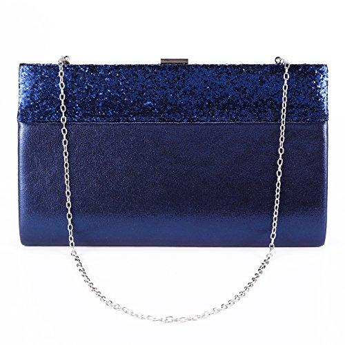 Purse Bag Handbag Prom Blue Evening Shiny Bag Navy Clutch Bling Envelope Womens Anladia Bridal Wedding Glitter xTwWq4CCOf