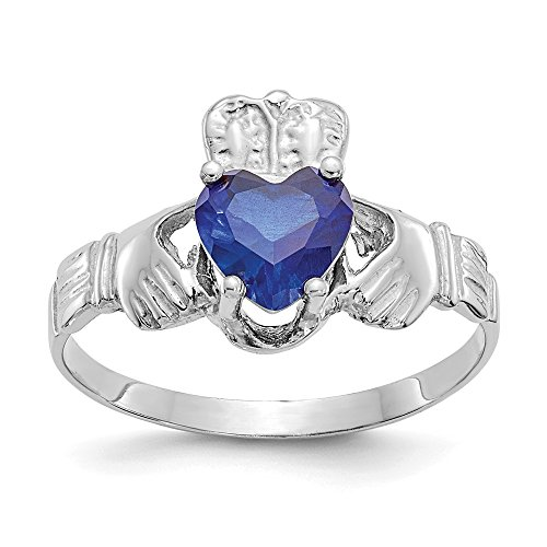 14k White Gold September Birthstone Claddagh Ring