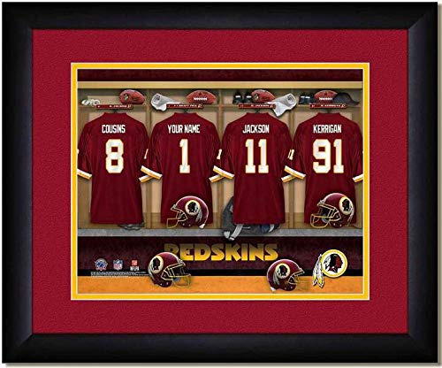 (Washington Redskins Team Locker Room Personalized Jersey Officially Licensed NFL Sports Photo 11 x 14 Print)