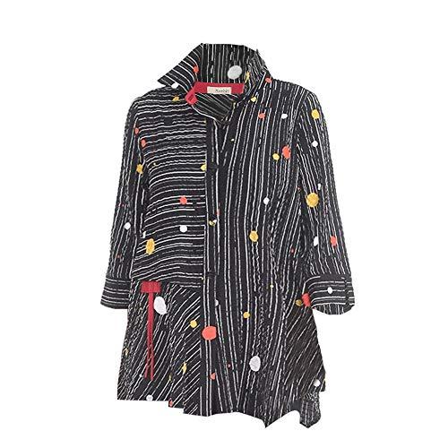 Moonlight Polka Dots & Stripes Button Front Shirt/Jacket - 2772 (Large) Black ()
