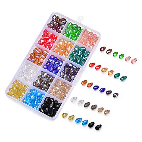 SROMAY 300pcs 8x12mm Teardrop Glass Crystal Beads Center Drilled Assorted AB Color Faceted Spacer Beads for Jewelry Making with Container ()