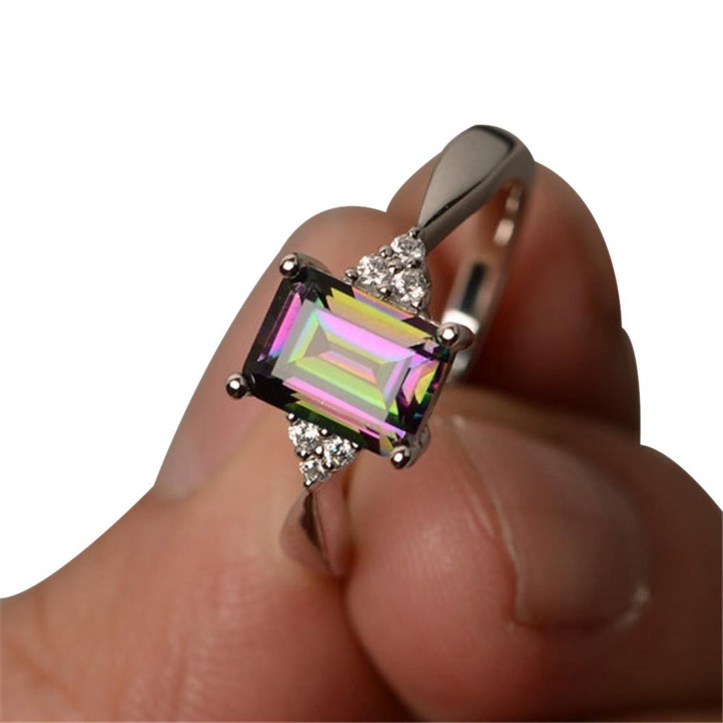 iLH Clearance Rings,ZYooh Women Princess Cut Mystic Rainbow Rings Engagement Diamond Rings Jewelry Gift (Rainbow, 8)