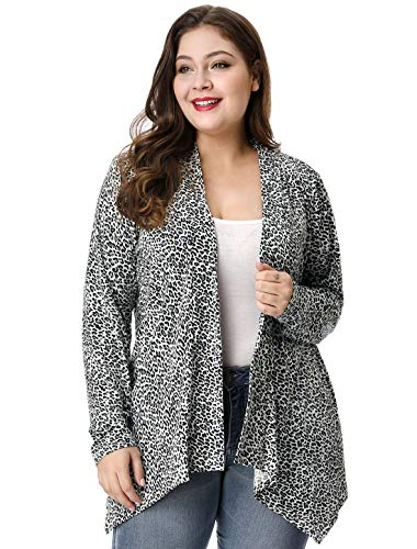 uxcell Women's Plus Size Leopard Print Asymmetric Open Front Fashion Cardigan 1X Grey ()