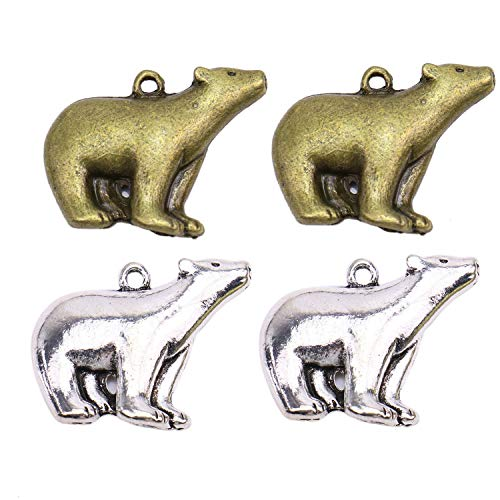 Monrocco 30Pcs 2 Colors Polar Bear Charms Pendants for Jewelry Making and ()