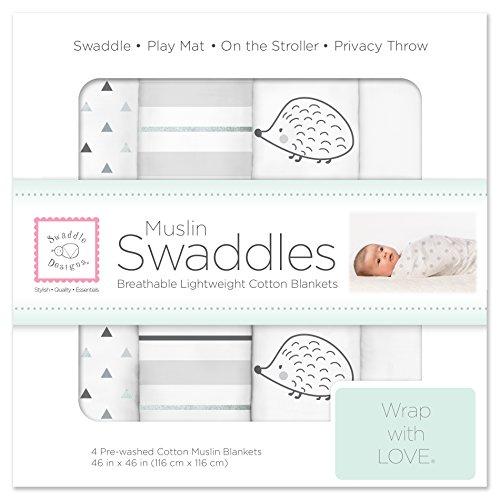 SwaddleDesigns Swaddle Blankets Hedgehog Sterling product image