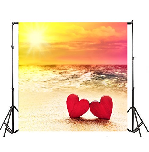 8' Heart Light Set - Leyiyi 8x8ft Photography Backgroud Wedding Ceremony Backdrop Happy Valentine's Day Heart Shape Seaside Sunset Sand Beach Marriage SPA Party Bridal Shower Birthday Photo Portrait Vinyl Studio Prop