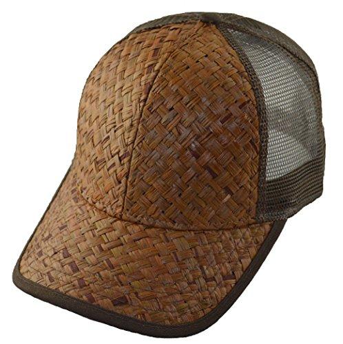 (G Straw Mesh Trucker Cap Hat Adjustable Low Profile-brown Brown)