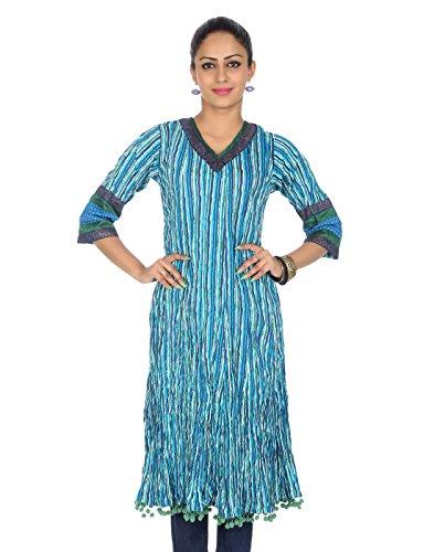 Rajrang Clásico Kurti Algodón Azul Diseñador Impreso Medio Para ella