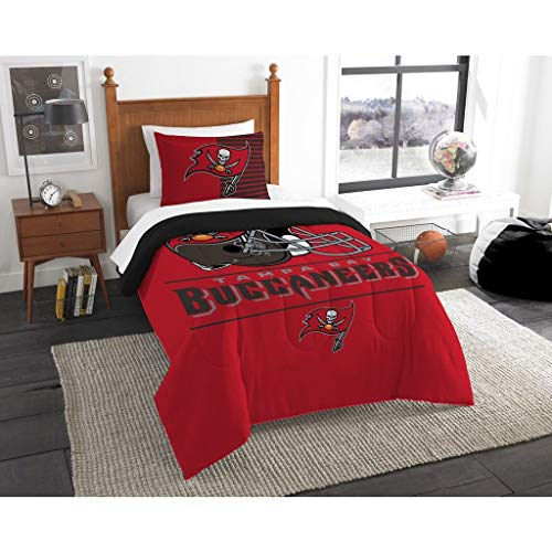 (MISC 2 Piece Twin Red Black Tampa Bay Buccaneers Themed Comforter Set, NFL Football Bedding, Sports Professional Athletes Helmet Sport Superbowl Playoffs Touchdown Victory)