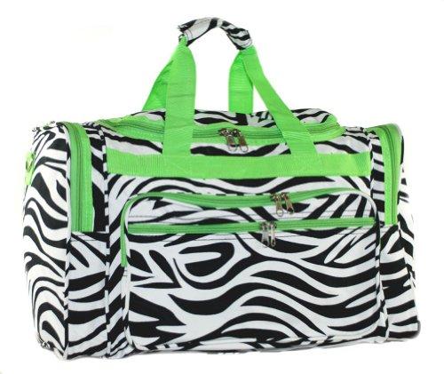 Lime Green Zebra - LD Bags Womens Black/White Zebra w/Lime Green Trim Duffel Bag, 22