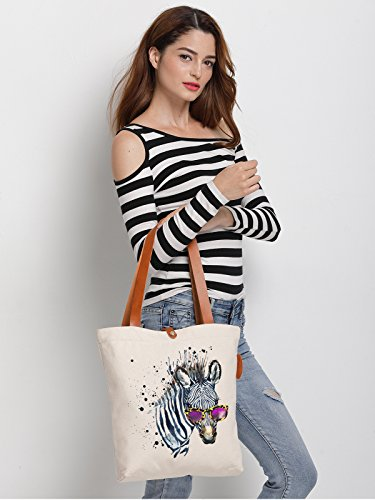 IN.RHAN Women's Zebra Watercolour Glass Canvas Handbag Tote Bag Shoulder Bag